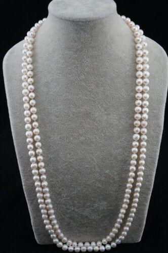 """Natural Pearl 46/"""" rond baroque 9-10 mm blanc eau douce collier de perles Y22185"""