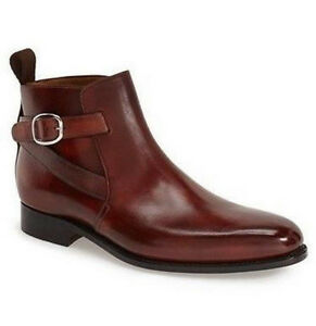Men-Latest-Model-Jodhpurs-Real-Leather-Buckle-Boots-bottes-hommes