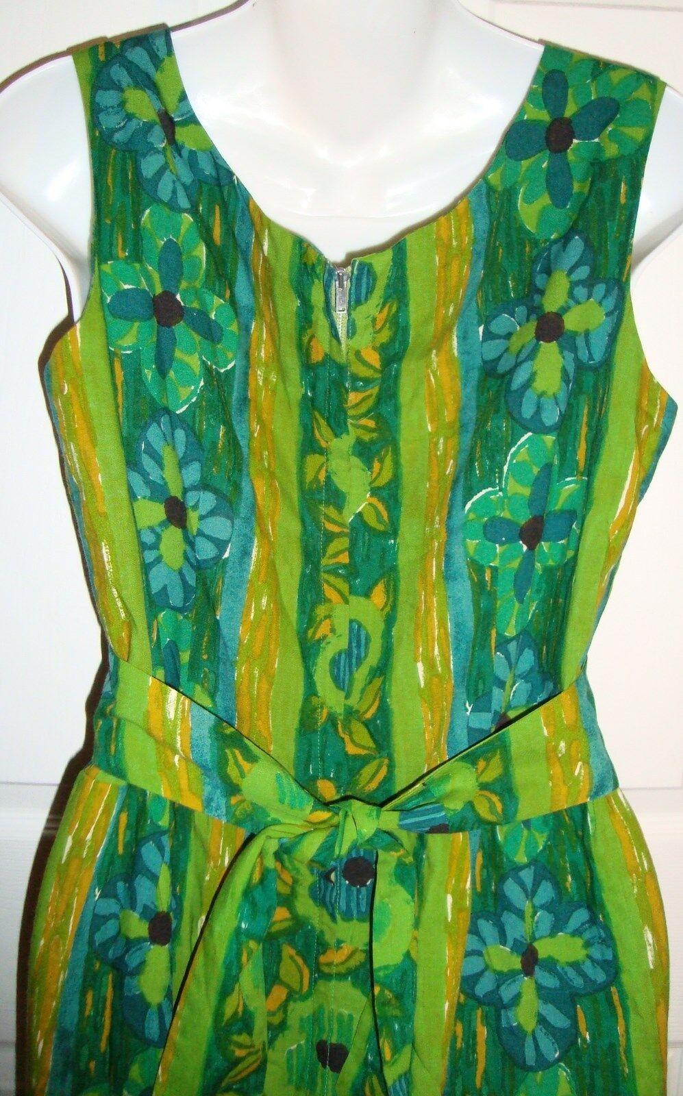 Ja Na Hawaii Hawaiian Dress Tapa Print Medium Large Grün Blau Gold Floral VTG