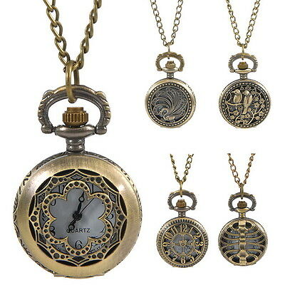 1PC STEAMPUNK Pocket Watch Necklace Chain Hollow Pattern W/Battery Keepsakes