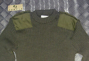 Genuine-British-Army-Green-Commando-Jumper-Wool-Crew-Neck-Very-Warm-All-Sizes