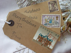 10 Handmade Unique Christmas Gift Tags Vintage Look ...