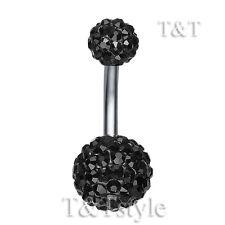 T&T 10mm Black Swarovski Crystal Ball Belly Bar Ring BL138D