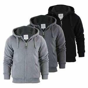 Mens-Hoodie-Brave-Soul-Zone-Sherpa-Fleece-Lined-Zip-Up-Hooded-Sweater