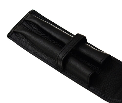 Black Real Leather Fountain Pen Rollerball Pen Case for for 2 Pens