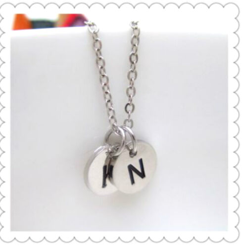 Initial Monogram Personalised Necklace Black Letter Stamped Charm Necklace