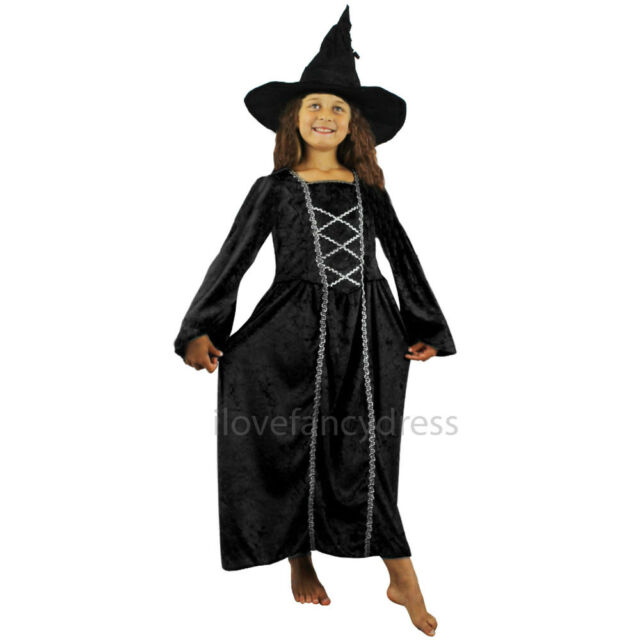 Girls Kids Childs Black Witch Halloween Fancy Dress Costume Outfit 5-13 Yrs