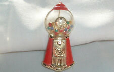 VINTAGE AJC RED ENAMEL BUBBLE GUM MACHINE GOLD TONE METAL BROOCH PIN IN GIFT BOX