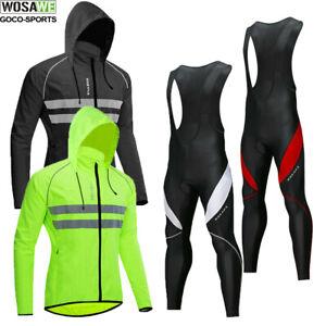 Mens-Long-sleeve-Hooded-Cycling-Jerseys-kit-Bike-Bid-Pants-Bicycle-Padded-Tights