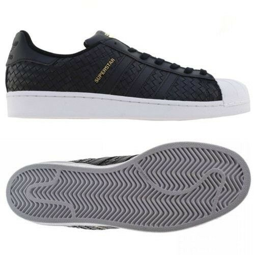Adidas superstar 'retro' tessuti originali formatori neri 'retro' superstar vintage shell tep f65637