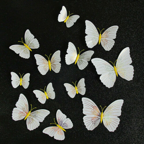 12PCS 3D Butterfly DIY Art Magnet Wall Stickers Home Decal Room Mural Xmas Decor