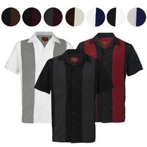 Maximos Men S Retro Classic Two Tone Bowling Shirt Charlie Sheen Ebay