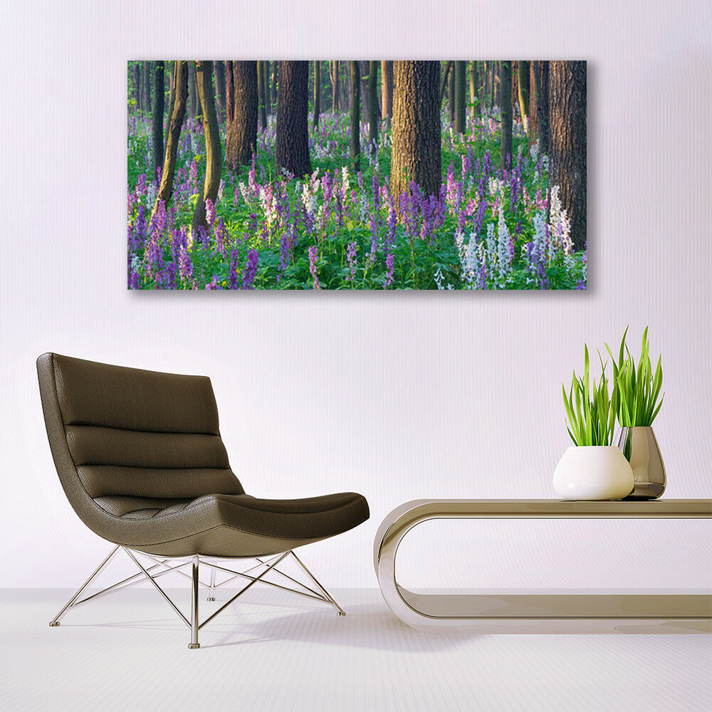 Canvas print Wall art on 140x70 Image Picture Forest Flowers Flowers Flowers Nature 57ebd5