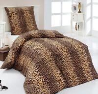 3 tlg kuschel pl sch bettw sche 200x220 microfaser fleece leo braun rv neu 200 ebay. Black Bedroom Furniture Sets. Home Design Ideas