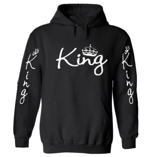 Men Women Hoodies Sweater Top King and Queen Crown Couples Sweatshirt JXYIN