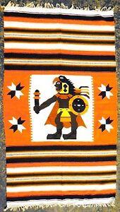 Vintage Wool Blanket Rug Zapotec Mexican Mayan Aztec