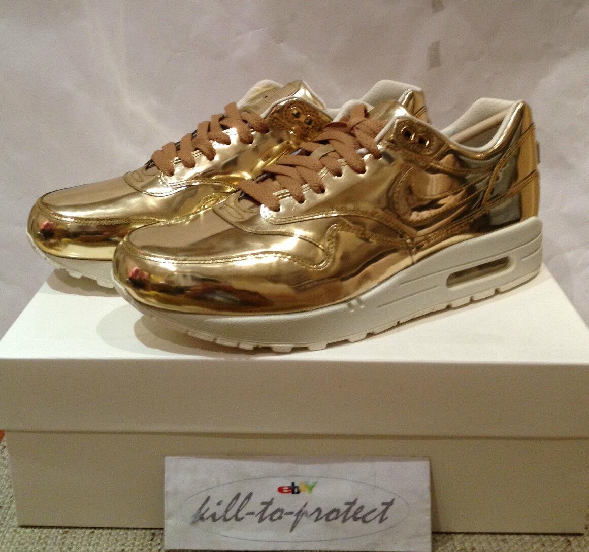 NIKE WMNS AIR MAX 1 LIQUID METAL GOLD US UK5 6 7 8 9 10 11 TZ 616170-700 SP 2013 Cheap and beautiful fashion