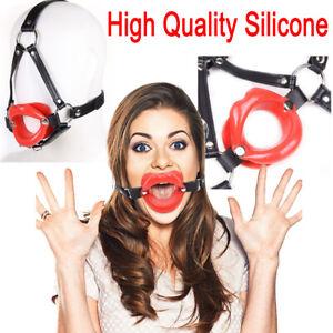 Silicone Sissy Bimbo Open Mouth Gag Lips w// Strap O-Ring Lip Ball Costume