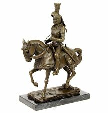 Bronzeskulptur Ritter Reiter Krieger mit Schwert Bronze Pferd Marmorsockel