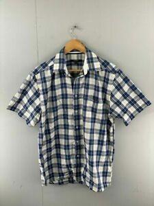 Gant-Long-Island-Oxford-Mens-Blue-Check-Short-Sleeve-Regular-Fit-Shirt-Size-M