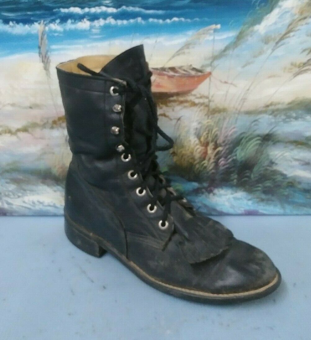 ACME WOMENS WORK BLACK LACE UP BOOT SIZE 7 D  15790
