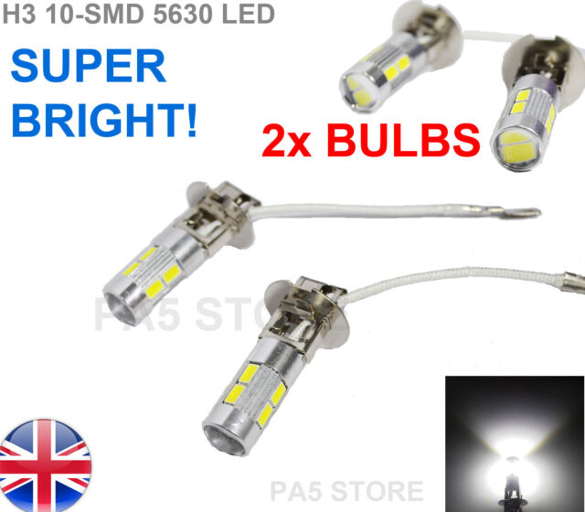 2x H3 5630 SMD 10 LED Bulbs XENON White 6000K -Car Fog Light Lamp 12V Quality UK