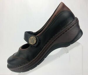 Josef-Seibel-Mary-Janes-Black-Brown-Leather-Comfort-Womens-Size-38-US-7-7-5