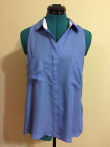 ELEVENSES-French-Blue-Blouse-w-Black-Polka-Dots-on-neckline-Sleeveless-Size-S