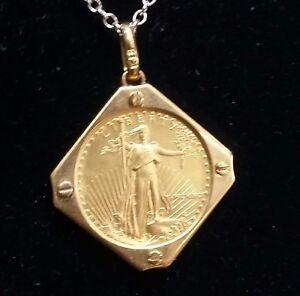 Genuine-US-5-1-10-Oz-22k-Gold-Eagle-Coin-In-18k-Solid-Gold-Bezel-Pendant