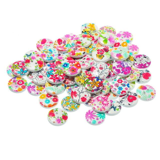 100 Mixte Boutons en Bois Motif Fleur 2 Trous Couture Scrapbooking 15mm