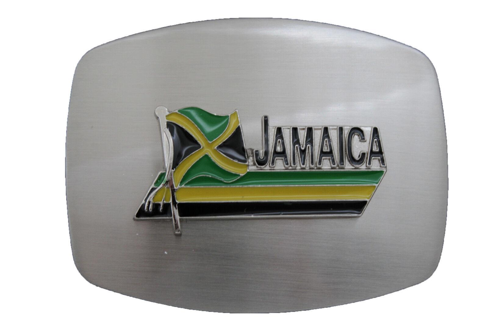 Herren Damen Silber Metal Modische Gürtelschnalle Groß Jamaica Flagge Land Grün