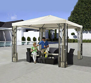 pavillon stahl gestell 3x3 pavillondach polyester sand 7220088 ebay. Black Bedroom Furniture Sets. Home Design Ideas