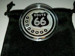 1oz Fine Silver 999 Route 66 Silver Round W Pouch Amp Caps