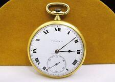 TIFFANY & Co. 18k Yellow Gold Wind Up POCKET WATCH 21 Jewels ESTATE