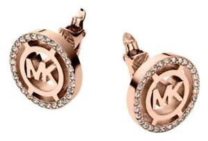 NEW-MICHAEL-KORS-ROSE-GOLD-TONE-MK-PAVE-CRYSTALS-MONOGRAM-CLIP-EARRINGS-MKJ4085