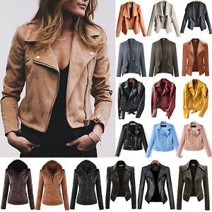 Women-039-s-Faux-Leather-Zip-Up-Bomber-Jacket-Biker-Coat-Casual-Flight-Tops-Outwear