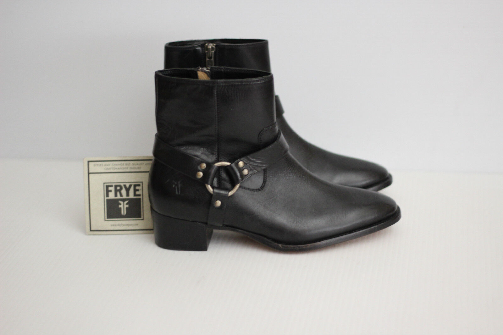 NEW Frye 'Dara' Harness Short Zip Up Bootie Boots - Black Leather - 6.5 B  (S35)