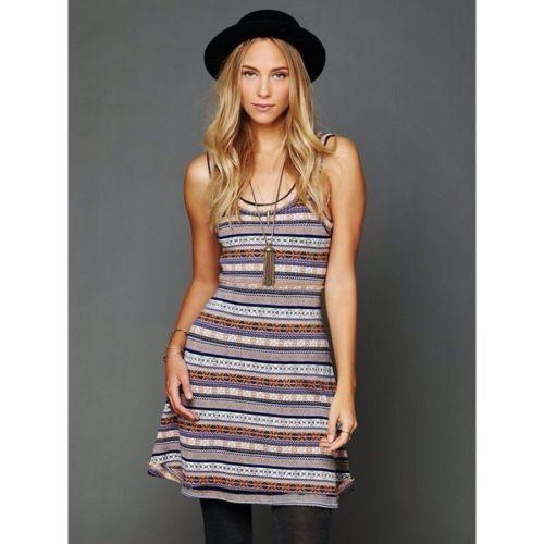 Free People XS Acrylic Wool Blend Fair Isle Nordic Sweater Fit & Flare Dress