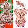 UK Stock Baby Girls Floral Bodysuit Romper Summer Headband Sunsuit Outfit Set
