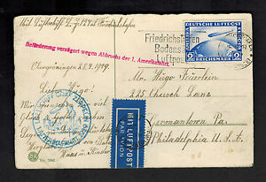 1929 Deutschland Graf Zeppelin Postkarte Abdeckung Verzögerter USA Flight