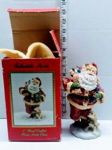 "Vintage 1993 THC  Hand Crafted 7"" Tall Resin Santa Claus With Dog w Box"