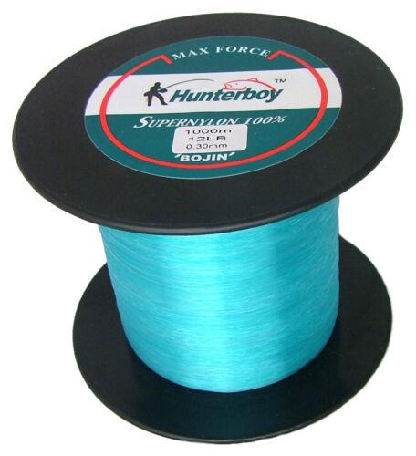 HUNTERBOY MAXFORCE SUPER NYLON FISHING LINE 1000M 12lb ELECTRIC BLUE