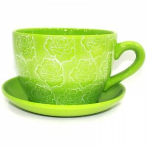 Giant Jumbo Large Green Rose Design Tea Cup And Saucer Planter