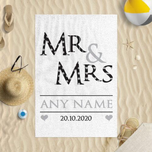 Personalisiert Mr /& Mrs Hochzeit Datum Design 147cm x 99.1cm Mikrofaser Badetuch
