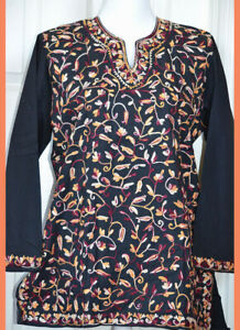 Multi-Color-Embroidered-Black-Cotton-Tunic-Top-Kurti-from-India-Large