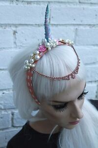 Image is loading UNICORN-HORN-PINK-BEADED-FLOWER-CROWN-HEAD-BAND- e3dc5fd4f8a