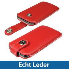 Rot Echt Leder Beutel für Samsung Galaxy Nexus i9250 Android Tasche Hülle