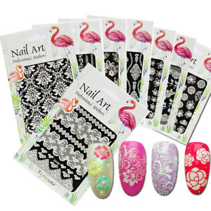 Fashion 3d nail art stickers white flower lace leaf theme manicure image is loading fashion 3d nail art stickers white flower lace prinsesfo Gallery