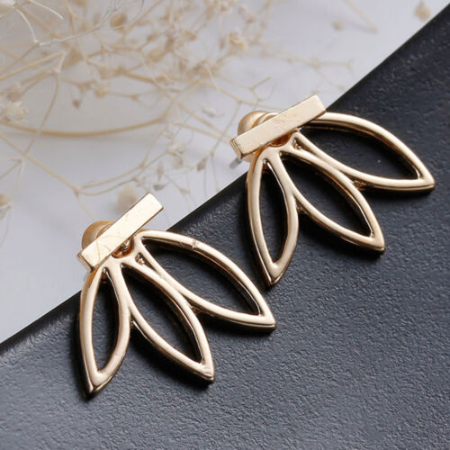 Womens Flower Crystal Rhinestone Earrings Front and Back Ear Stud Charm Jewelry