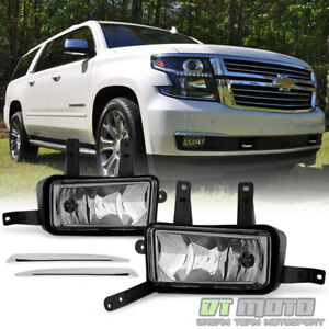 Details About 2017 2018 Chevy Suburban Tahoe Fog Lights Lamps W Chrome Trim Switch Bulbs 16 18